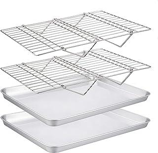 TeamFar Baking Sheet with Rack Set(2 Pans & 2 Tier Racks), Stainless Steel Cookies Sheet Baking Pans & Cooling Roasting Ra...