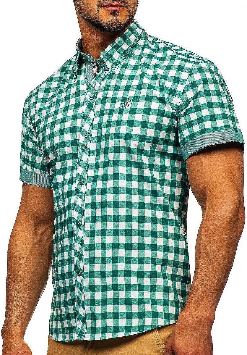 BOLF Hombre Camisa a Cuadros De Manga Corta Abotonada Cuello Americano Camisa de Algodón Slim Fit Estilo Casual 2B2