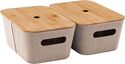 YOUDENOVA Storage Baskets Bins with Bamboo Lids, Herringbone Twill Fabric Organizer Baskets Storage Container for Cube Cab...