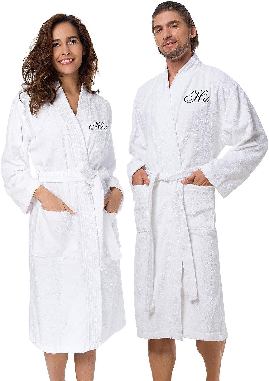 AW BRIDAL 2Pcs Couple's Terry Cotton Kimono Robe 100% Cotton Spa Bathrobe Set - Unisex Hotel Robe with Script Embroidery