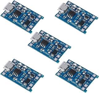 KeeYees TP4056 リチウムイオン充電モジュール 5V 1A 18650 リチウムバッテリ充電ボード Micro USB付き 保護IC搭載 5個入り