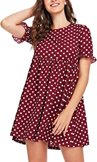 Women's Comfy Short Sleeve Smock Loose Tunic Flare Swing Party Dress