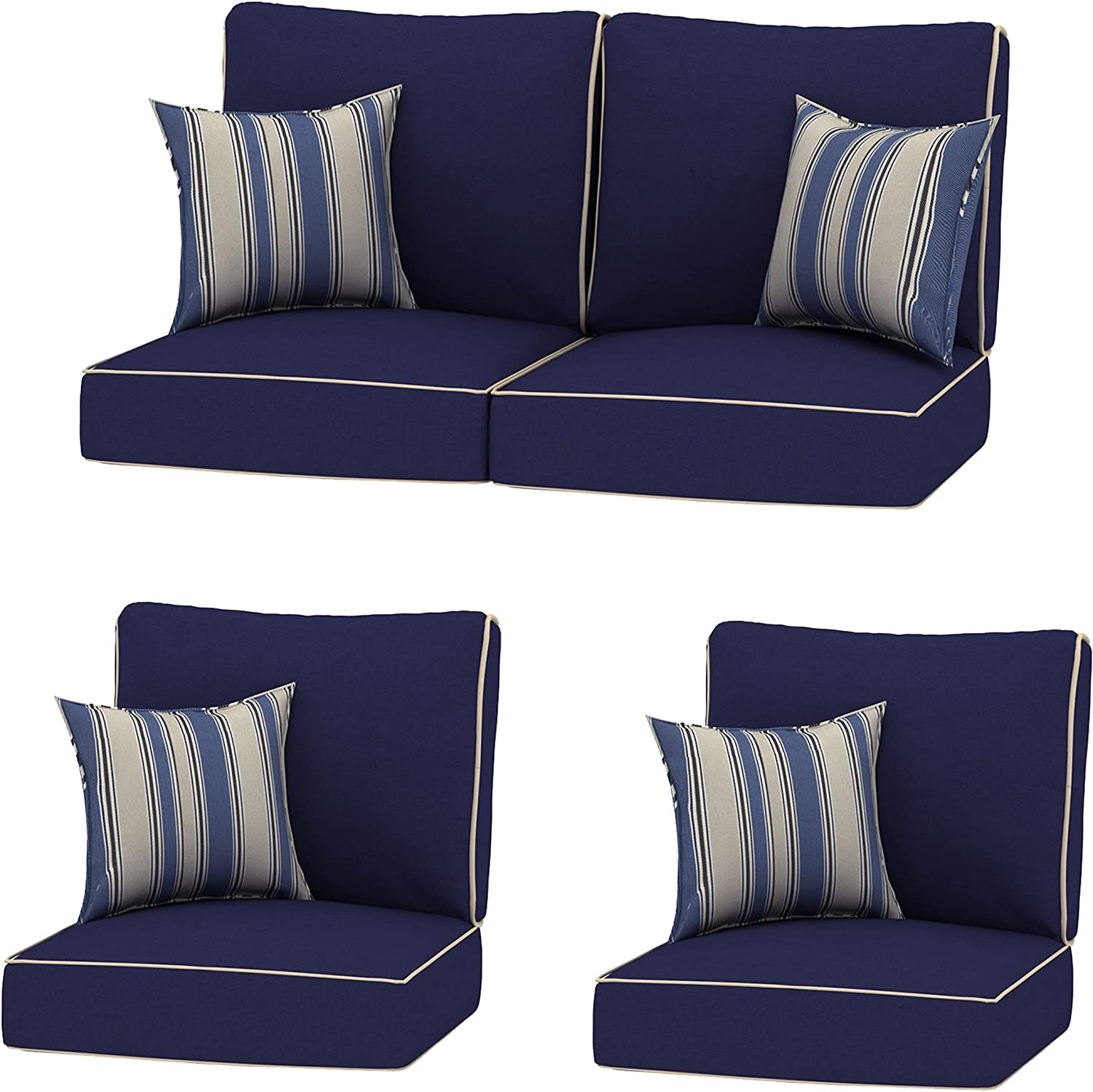 Creative Living 4PC Chat Group Outdoor Deep Seating Refresh Patio 24x24 Replacement Cushions with Decorative Pillows, Navy