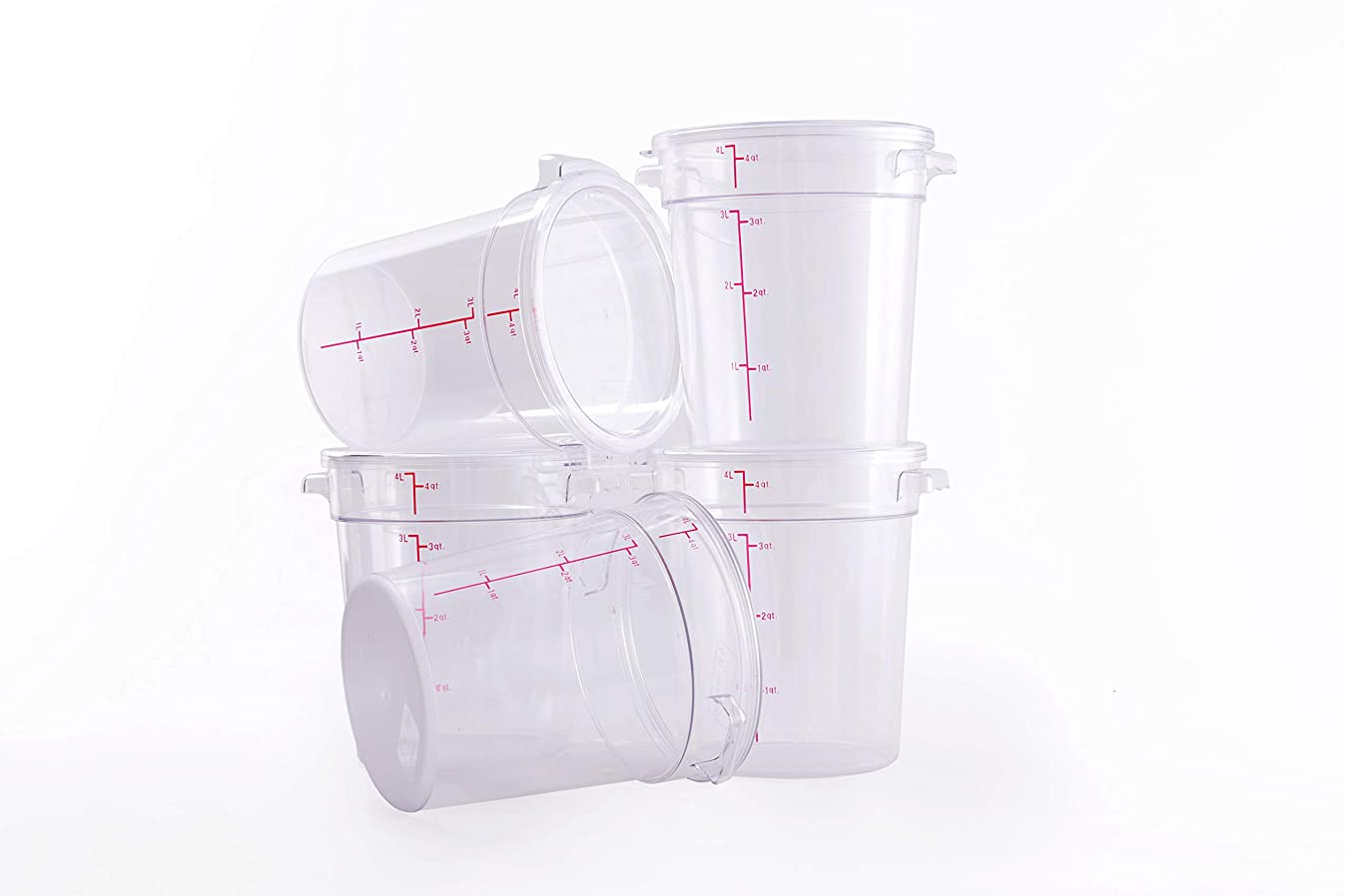 Hakka 4 Qt Commercial Grade Round Food Storage Containers with Lids,Polycarbonate,Clear - Case of 5