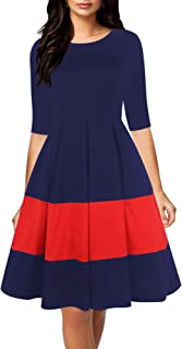 Women's Vintage Half Sleeve O-Neck Contrast Casual Pockets Party Swing Dress OX253