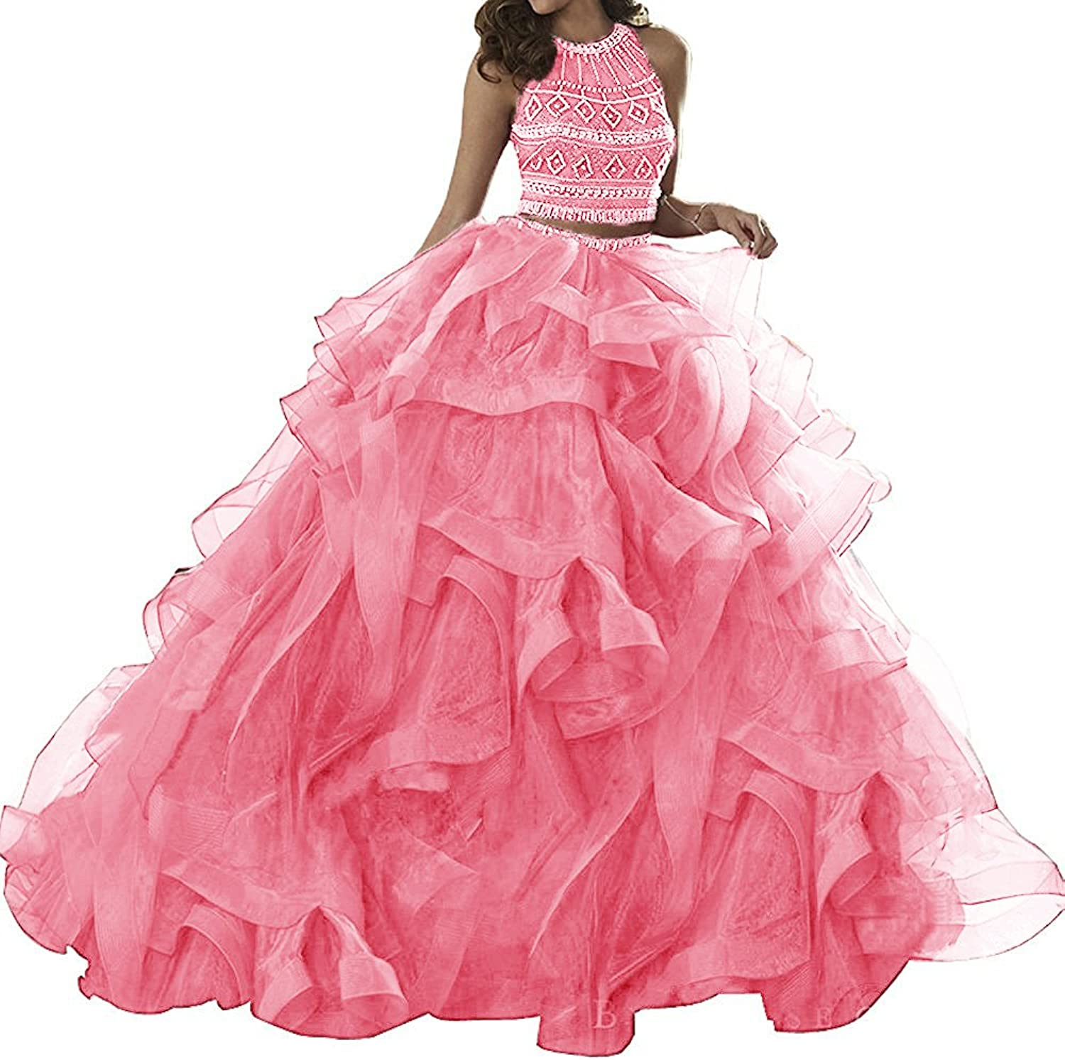 XSWPL Womens Three Pieces Pageant Ball Gowns Crystals Beaded Removeable Quinceanera