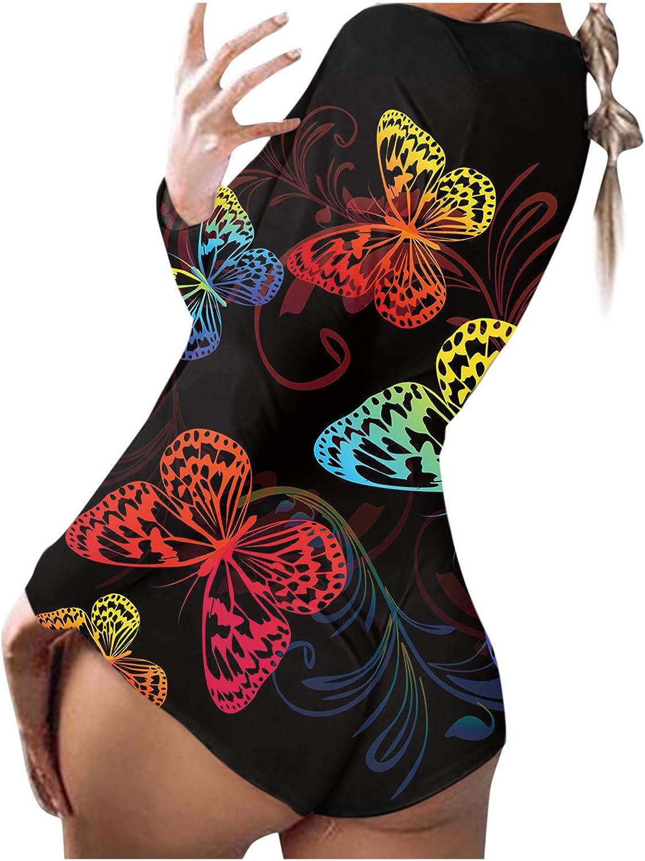 Bodysuit for Women Jumpsuit,Ladies Sexy Pajamas Homewear Jumpsuits Back Flap Rompers Playsuit Butterfly Print Sleepwear