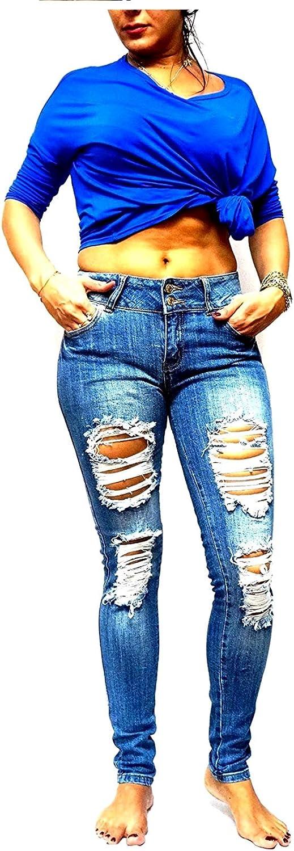 Jack David Rue21 Juniors Plus Womens Army Camouflage/Blue Denim Jeans Stretch Skinny Ripped Distressed Jean Pants