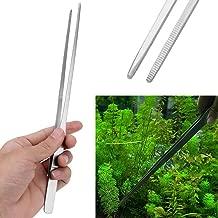 SODIAL R Pinzas rectas de plantas vivas para tanque de pez acuario Corte Acero inoxidable 28cm