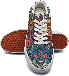 Mastodon Sneaker Loafers for Women Canvas Upper Skate Shoes Slip-on Cut Low Top Lace up Flat Casual