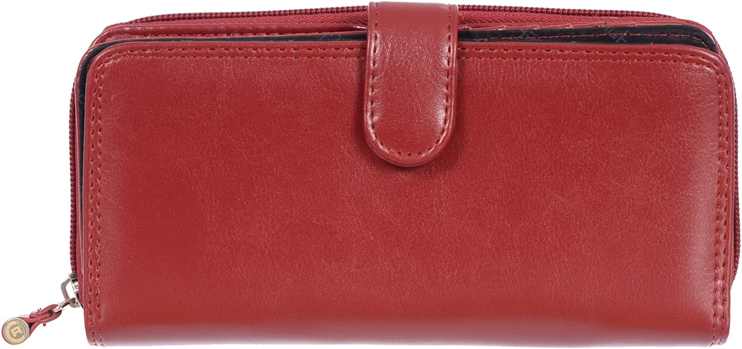 Club Rochelier Women's Zip Around Wallet with Tab (Red)