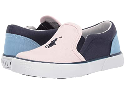 Polo Ralph Lauren Kids Bal Harbour II (Toddler) (Light Pink/Navy/Blue Canvas/Navy Pony) Girl
