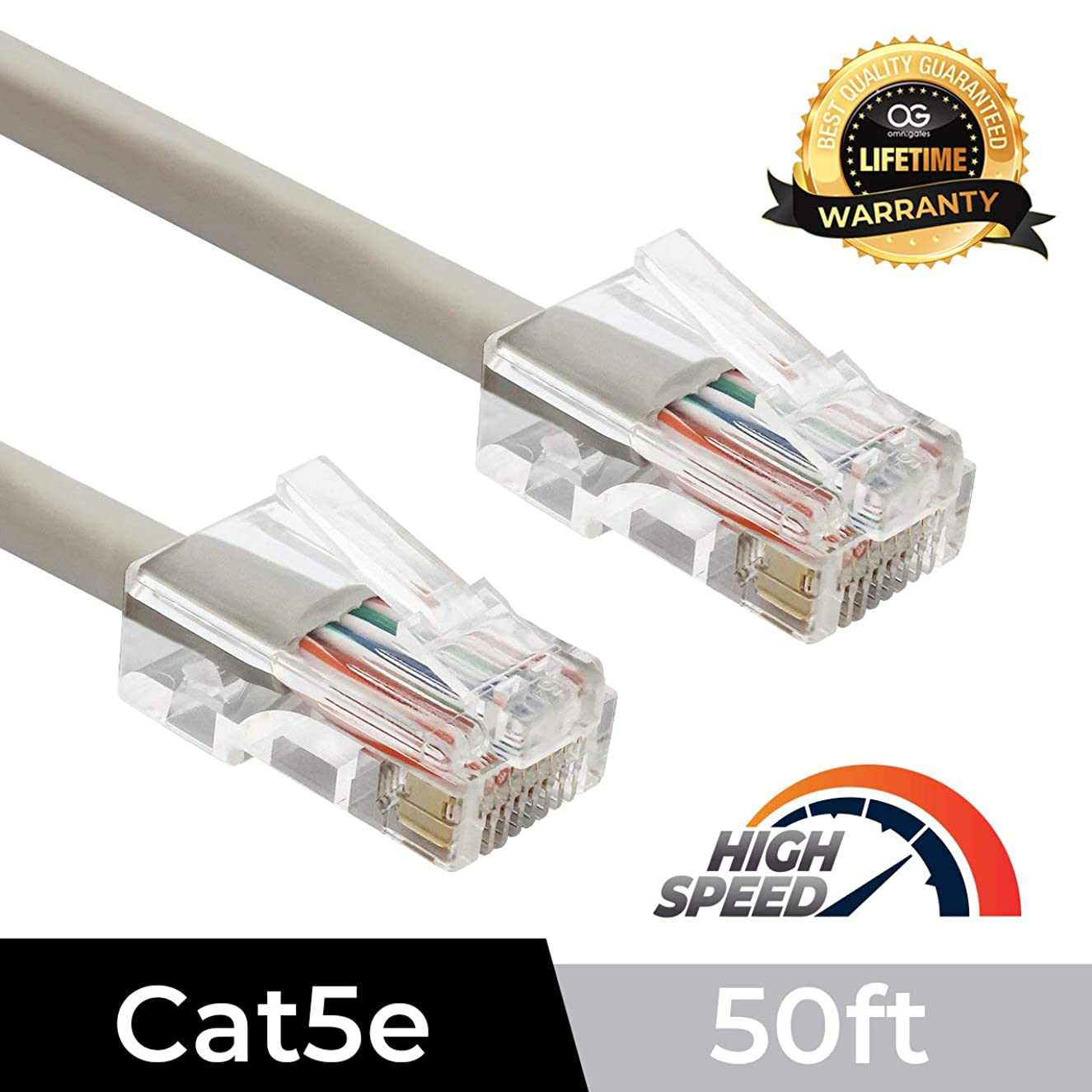 Omnigates 1ft Non Booted RJ45 Cat5e Ethernet Network Patch Cable Gold Plated UTP, Gray