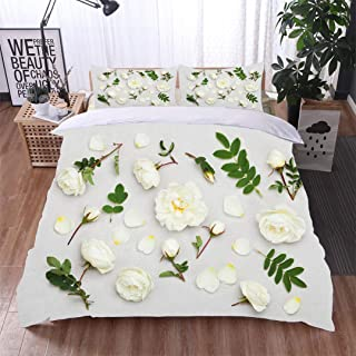 Home 3 Piece Print Quilt Set,White Rose Flowers Flat Lay Styling Pastel Floral Pattern,Soft,Breathable,Hypoallergenic,with 2 Pillowcase for Kids Bedding