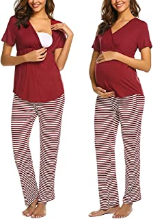 DolceTiger Femme Maternit/é Pyjama de Nuit Grossesse Allaitement Ensemble de Pyjama Femmes Coton V/êtement de Nuit /à Pois V/êtement dInt/érieur Femme Doux /à Porter et Confortable
