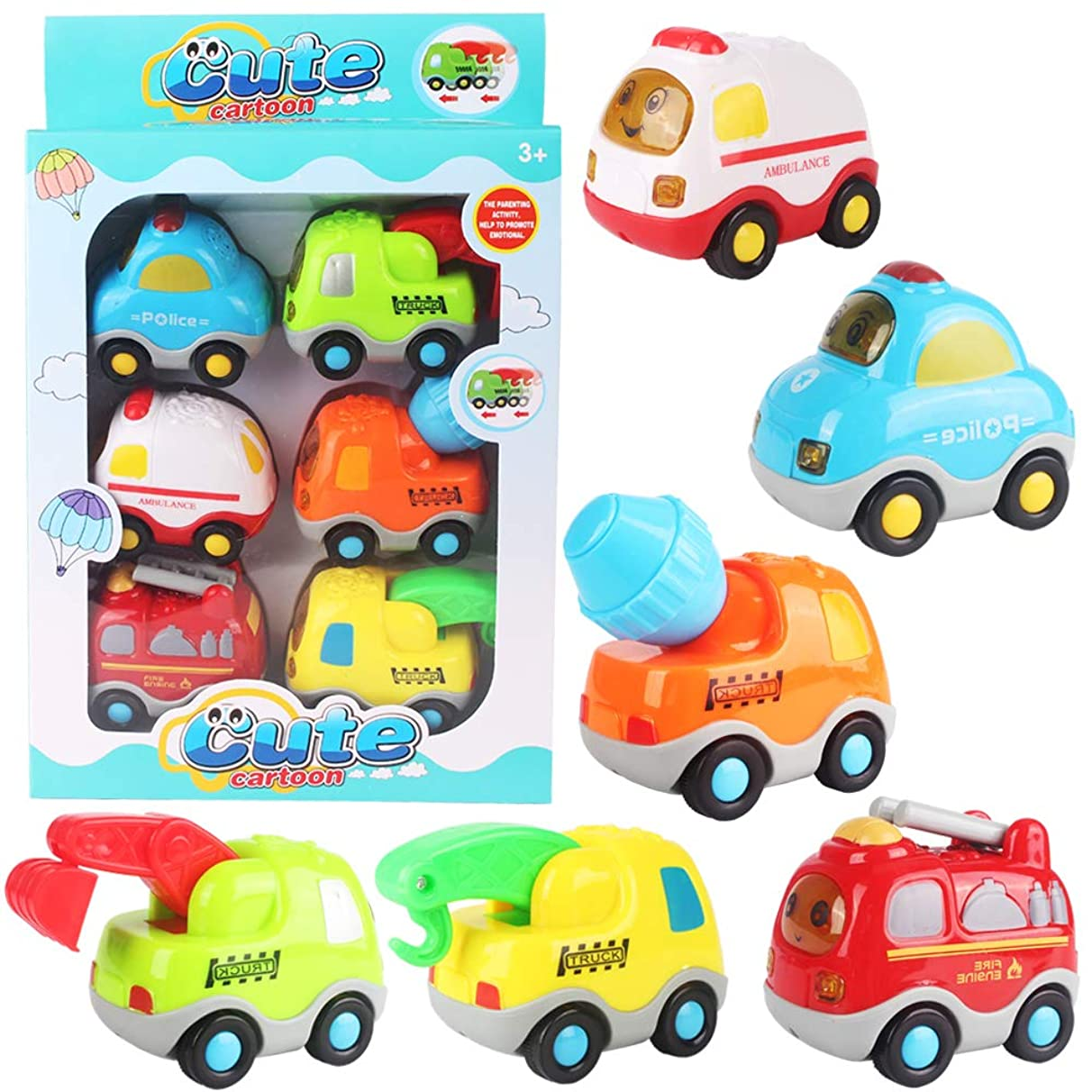 YUNK ?Push and Go Friction Powered Car Toys Set for Children Boys Girls Kids Gift