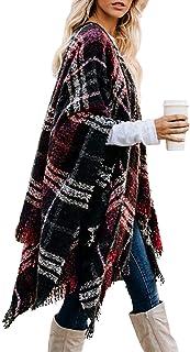 Toppshe Women's Plaid Open Front Stripe Color Block Warm Soft Scarf Blanket Cardigan Shawl