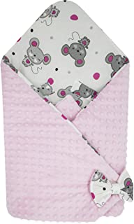 BlueberryShop Minky 双面适用汽车座椅襁褓包裹毯子睡袋适用于新生儿,宝宝派对礼物(0-3 米)(78 x 78 厘米)白色 粉红色 78 x 78 cm