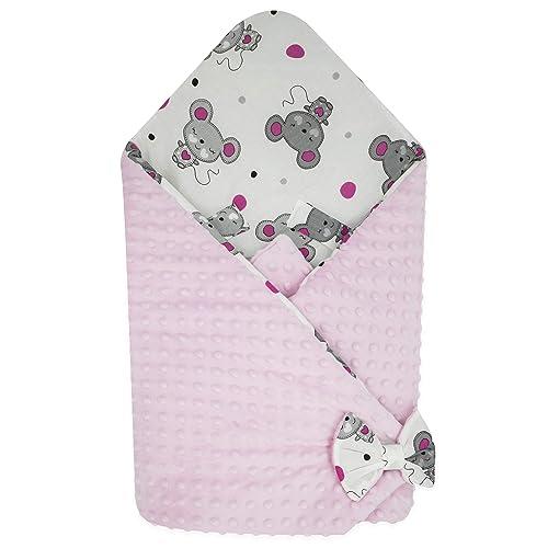 BlueberryShop Minky Couverture d'emmaillotage polaire   Pratique dans la voiture   Sac de couchage réversible pour nouveau-né   Cadeau parfait pour Baby Shower   Pour 0-3 mois   78 x 78 cm   Rose