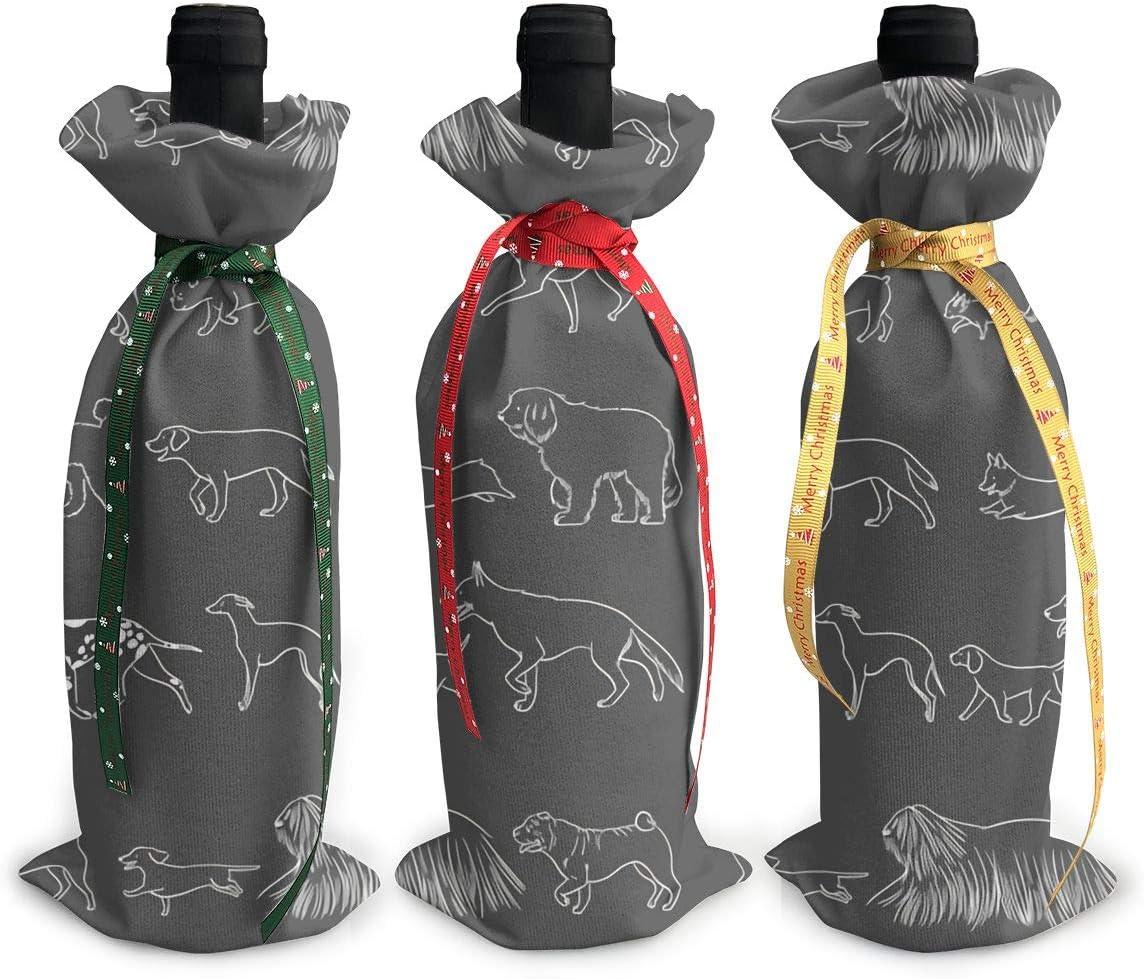 Gray Virginia Beach Mall Chihuahua Print Popular brand Painting Dog3Pcs Wine Gl Christmas Xmas Red