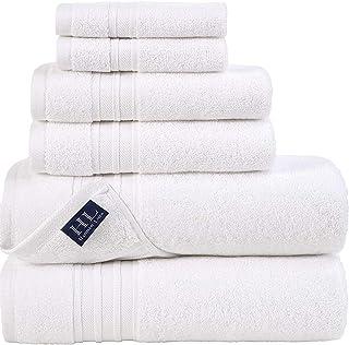 Hammam Linen White Bath Towels Set 6-Piece Original Turkish Cotton Soft, Absorbent and Premium Towel for Bathroom and Kitc...