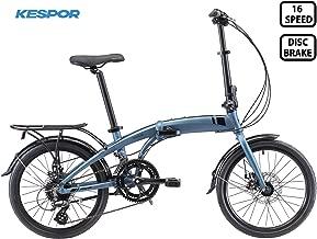 KESPOR Venture Folding Bike Commuter, Rear Rack, Folding 16 Speed Bike City Aluminum, Disc Brake, 20-Inch Wheels