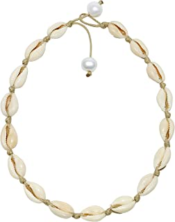 POTESSA Natural Shell Beads Handmade Hawaii Wakiki Beach Choker Adjustable for Girls Ladies