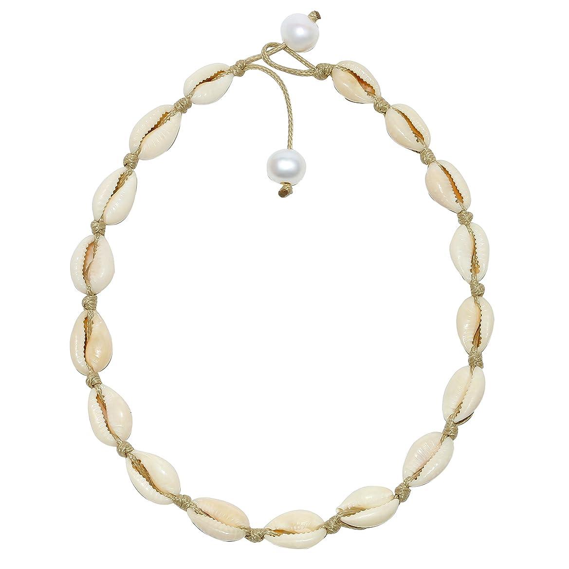 POTESSA Natural Shell Beads Handmade Hawaii Wakiki Beach Choker Adjustable for Girls Ladies mrdpmmomao5