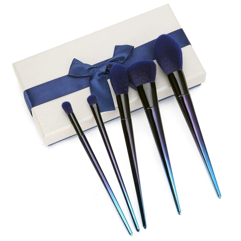 ハーネス好奇心盛適用する高級メイクブラシセット5本 やわらか化粧ブラシセット メイクブラシ メイクアップブラシ フェイスブラシ チーク/アイシャドウ ブルー クリスマス ギフトおしゃれの プレゼントケース付 ブル—