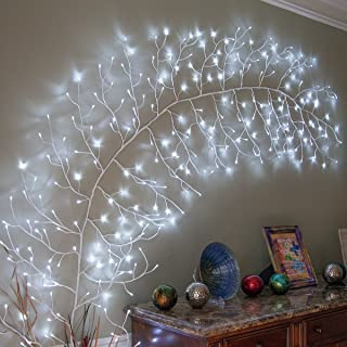 10' Lighted Climbing Decorative Vine, Indoor/Outdoor Accent Wall Decor, Vine Artificial Vine Decor, Garden Wall Decoration (White Vine, Cool White LED Lights)