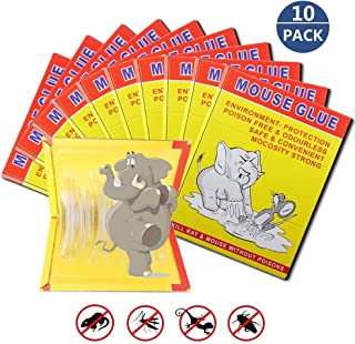 ALLRoad 10 Pack/Mouse Glue Boards,Sticky Traps for Mice,Large Rat Glue Pads,Extra Sticky Traps with Peanut Butter Large Capture Area,Catch Mouse Indoor and Outdoor