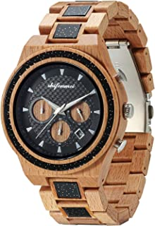 Wooden Watches for Man, shifenmei S5574 Stopwatch and Date Luminous Hands Wooden Business Casual Wristwatches Stylish Analog Japanese Quartz Wood Natural Handmade Watch