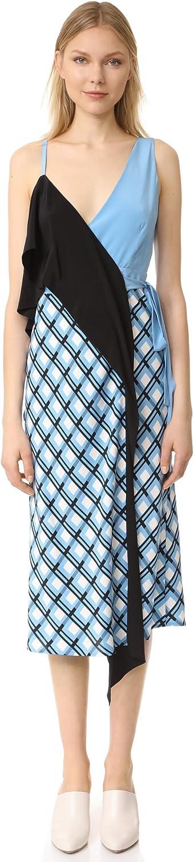 Diane von Furstenberg Women's Asymmetric Ruffle Front Dress