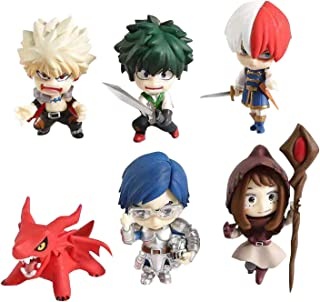 Yamia 6pcs/Set My Hero Academia Mini Action Figure Todoroki Shoto Bakugou Katsuki Midoriya Izuku Figure Collectible PVC Figure for Kids Teens and Anime Fans