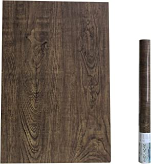 """HaokHome 610401 Faux Wood Wallpaper Peel and Stick Brown Wooden Plank Sticker 17.7""""x 19.7ft For Bathroom Kitchen Prepasted Contact Paper"""