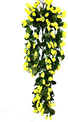 Kitgohut Fabric Artificial Flower Wall Hanging with Iron Stand for Home Decor and Official Purpose (15x 25x 75 cm, Yellow)