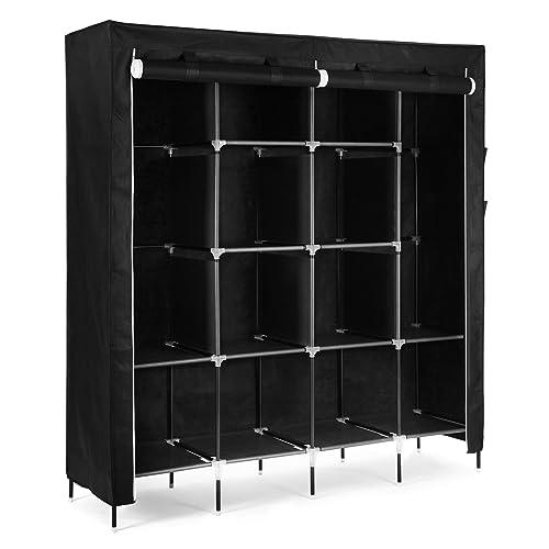 Bright Corner Canvas Wardrobe 2 Hanging Rail Cupboard Clothes Storage Shelves Black New Buy One Get One Free Home & Garden