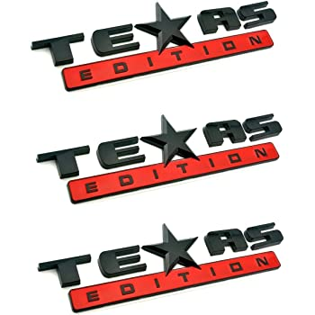 Chrome Black 1 Pc Texas Edition 3M Stick On Emblem 3D Badge Nameplate Replacement for GMC Chevy Silverado Suburban Tahoe Sierra