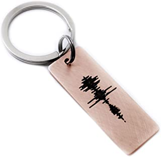 Custom Engraving Sound Wave Key Chain, Personalized Valentine's Day Gift for Him Her