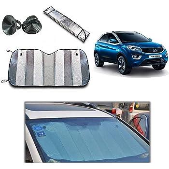 Yashinika 126cm x 60cm Car Sunshade Solar Reflective Silver Car Front Windshield Fold-able Sun Shade UV Rays Block for Universal for All Car Models