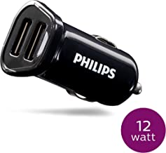 Philips Dual USB Car Charger, 2 USB A Ports, Fast Charging, 2.4 Amp, 12 Watt, Great for Travel, Phone Charger, Black, DLP2457/37