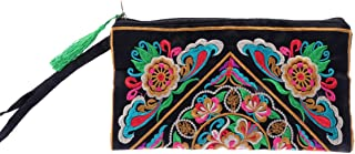 OULII Women's Handbag Handmade Chinese Style Retro Embroidered Purse Phone Wallet With Strap or Women (Satin Dragon Pattern)