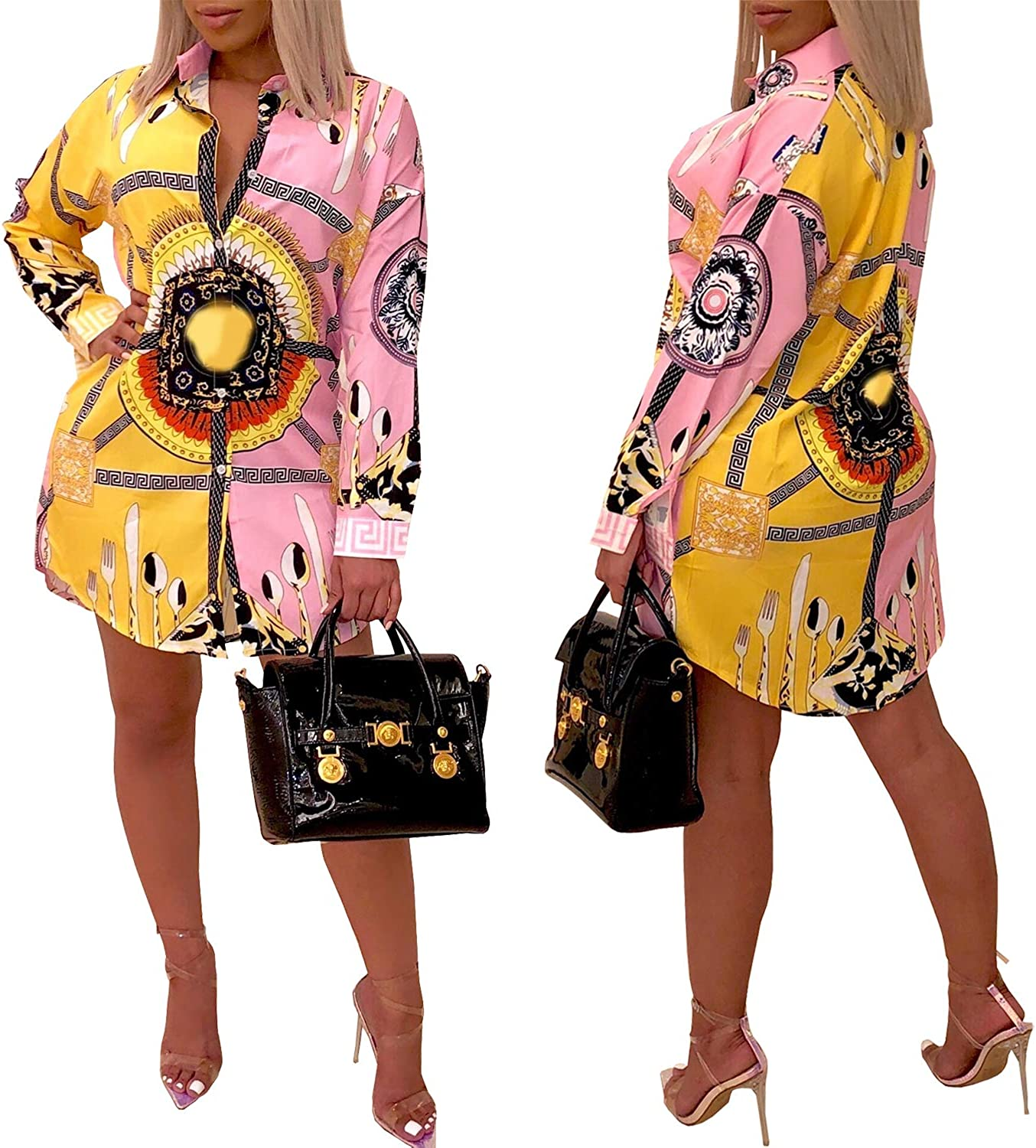 Women's Sexy Floral Print Simple Button Down Long Sleeve Collar Loose Shirts Blouses Tops Mini Dresses