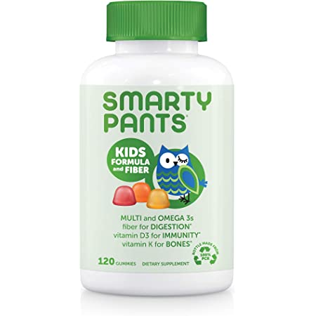 Amazon.com: SmartyPants Kids Formula & Fiber Daily Gummy Multivitamin: Fiber  for Digestive Health, Vitamin C, D3, & Zinc for Immunity, Omega 3 Fish Oil  (EPA & DHA), B6, Methyl B12, 120 Count (