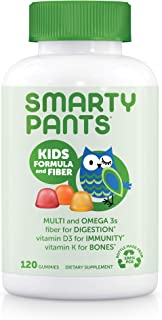 SmartyPants Kids Formula & Fiber Daily Gummy Multivitamin: Fiber for Digestive Health, Vitamin C, D3, & Zinc for Immunity,...