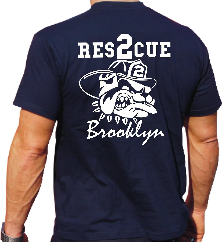 Bulldog Fighting mit 2 Rescue T Shirt Brooklyn fire