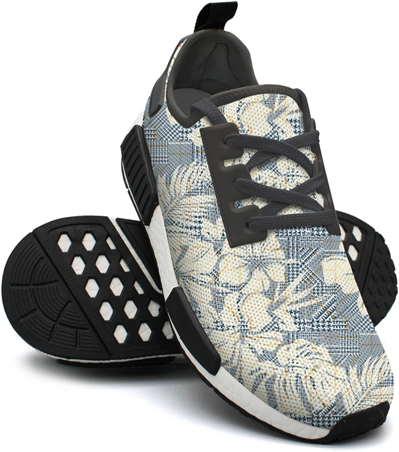 Houndstooth Plaid With Abstract Hibiscus Flowers Breathable Running shoes Womens Nmd Sports shoes Wide