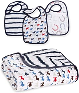 aden + anais Snap Bib and Dream Blanket Wild Horses Collection, 3 Pack Snap Bib, 1 Stroller Blanket