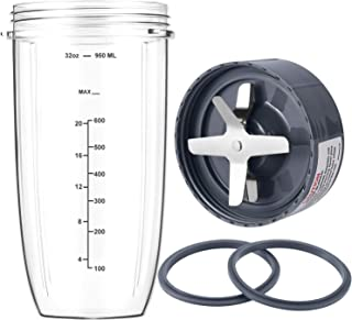 New Blender Cup and Blade Replacement Parts 32oz Cup and Extractor Blade and 2 Rubber Gaskets 4-Piece Compatible with Nutr...