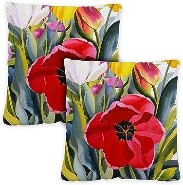Toland Home Garden 721219 Tulip Garden 18 x 18 Inch Indoor/Outdoor, Pillow with Insert (2-Pack)